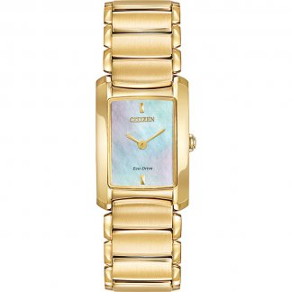 Ladies Euphoria Gold Tone Mother of Pearl Dial Eco-Drive Watch EG2972-58D