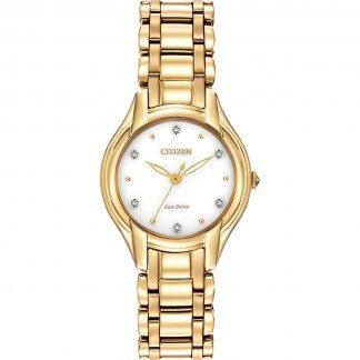 Ladies Silhouette Diamond Gold Bracelet Eco-Drive Watch EM0282-56A