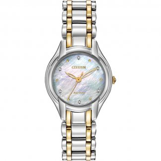 Ladies Silhouette Diamond Two Tone Eco-Drive Watch with MOP Dial