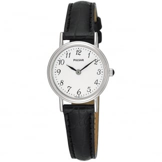 Ladies Classic Black Leather Strap Watch PTA195X1