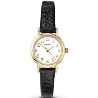 Ladies Classic Black Leather Strap Watch
