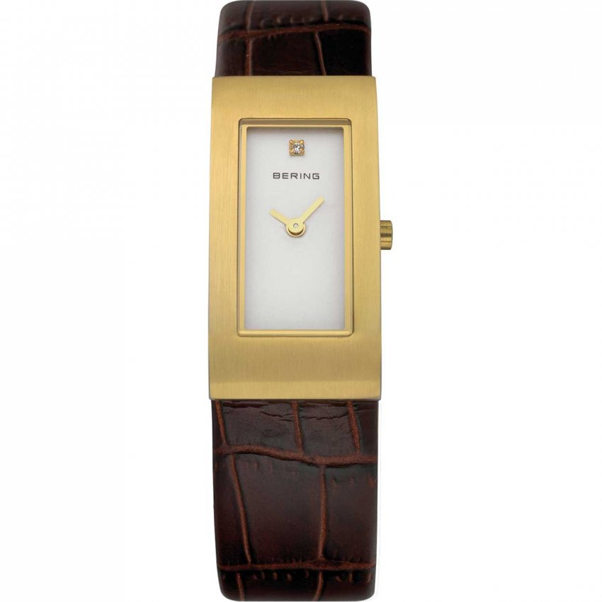 Bering Ladies Classic Gold Tone Brown Leather Watch 10817-534