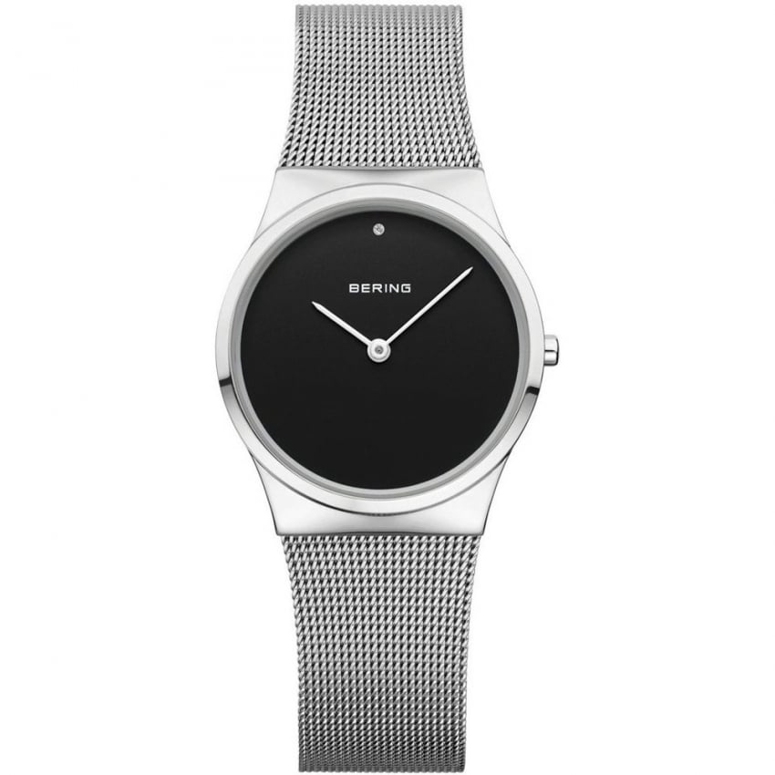 Bering Ladies Classic Mesh Black Dial Watch 12130-002