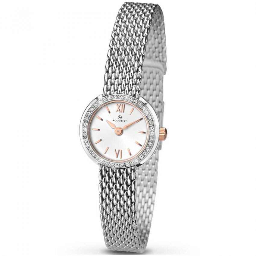 Accurist Ladies Classic Quartz Watch With Rose Gold Detail 8060