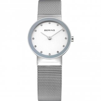 Ladies Classic Silver Mesh Swarovski Set Watch