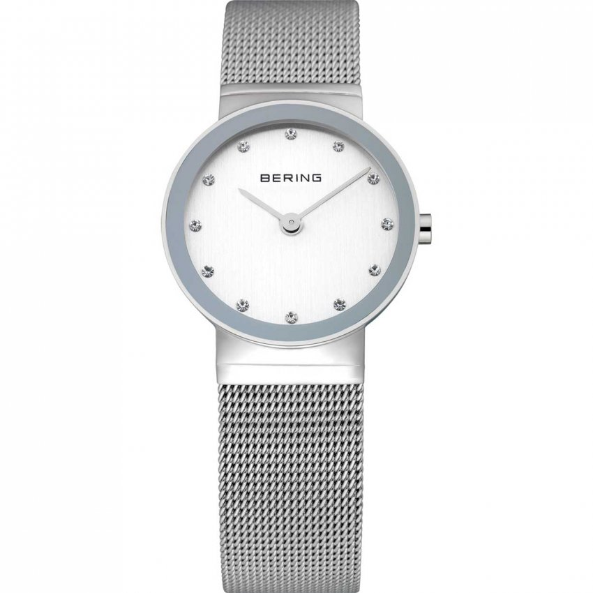 Bering Ladies Classic Silver Mesh Swarovski Set Watch 10126-000