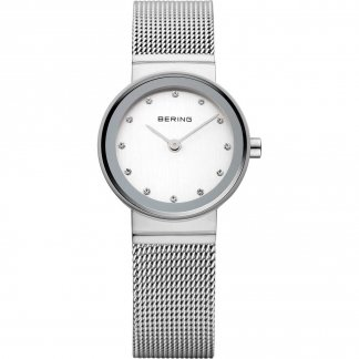 Ladies Classic Swarovski Set Silver Mesh Watch