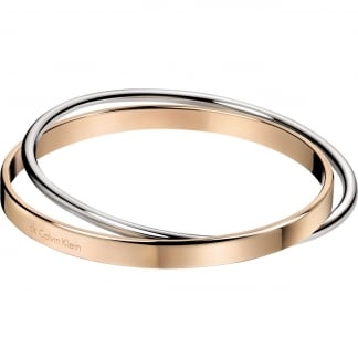 Ladies 'Coil' Steel & Rose Double Bangle