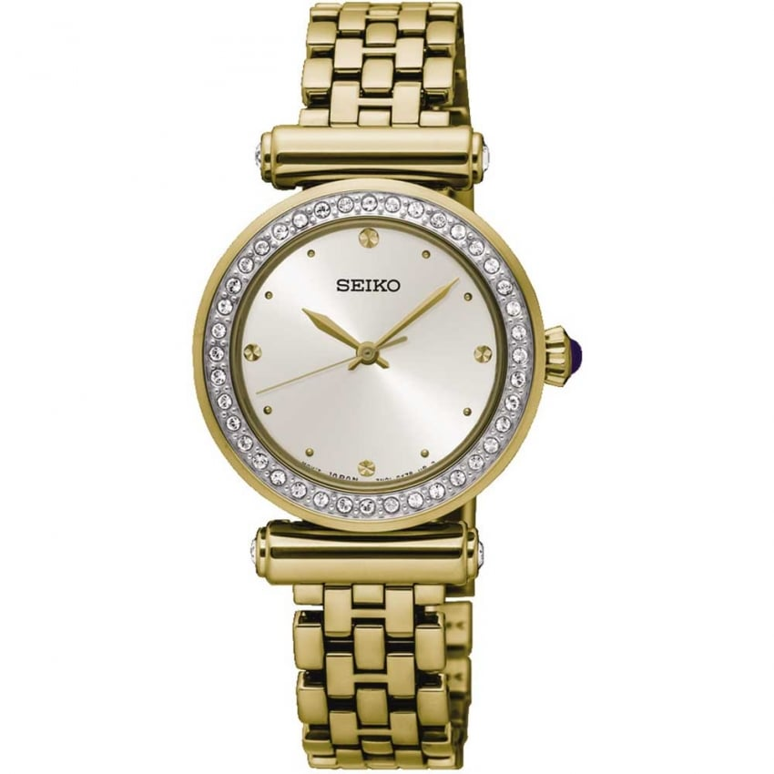 Seiko Ladies Crystal Bezel Gold Tone Watch SRZ468P1