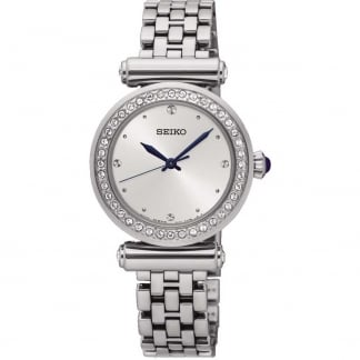 Ladies Crystal Bezel Silver Tone Watch