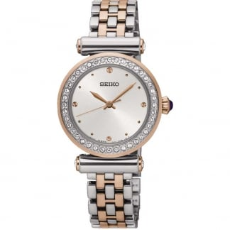 Ladies Crystal Bezel Steel & Rose Watch
