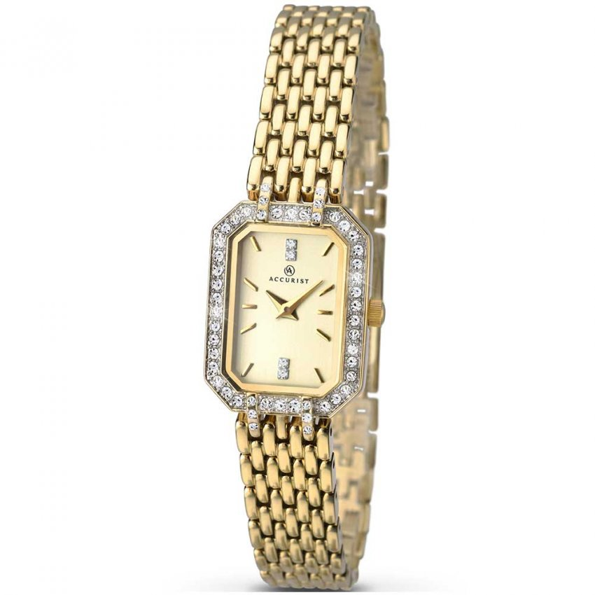 Accurist Ladies Crystal Set Gold Plated Quartz Watch 8062