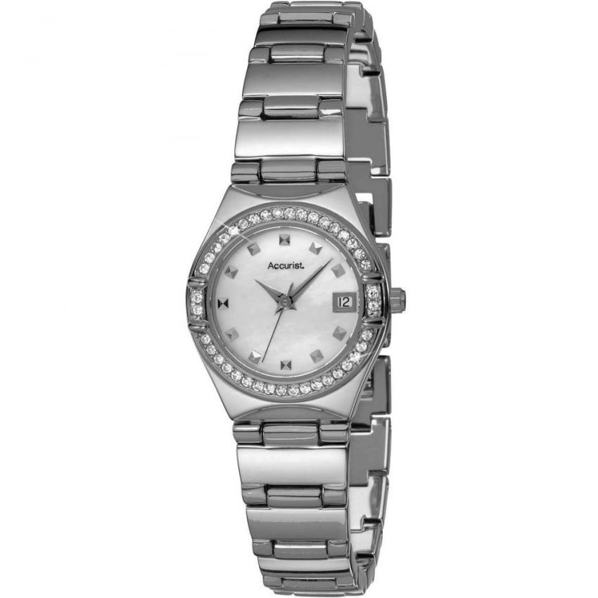 Accurist Ladies Crystal Set Mother Of Peal Dial Watch LB1662P