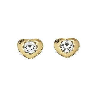Ladies 'Crystals Of Love' Gold Heart Studs