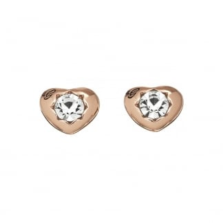 Ladies 'Crystals Of Love' Rose Gold Heart Studs