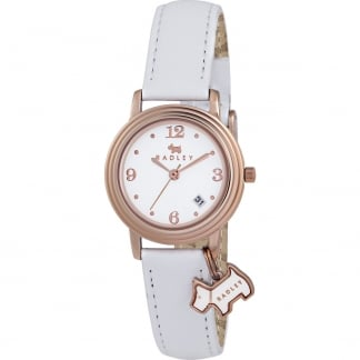 Ladies 'Darlington' White Strap Watch With Dog Charm