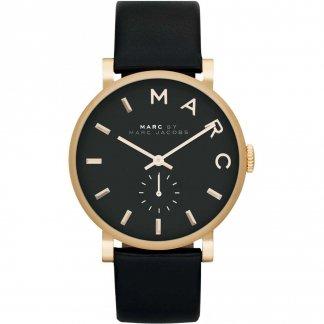 Ladies Gold Tone Designer Black Strap Baker Watch MBM1269