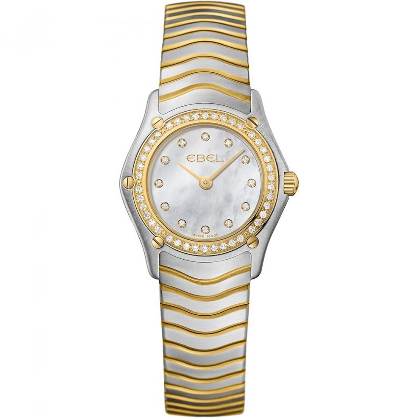 EBEL Ladies Diamond Encrusted Two Tone Wave Watch 1215262