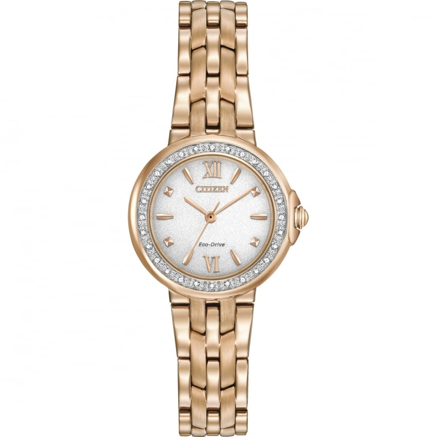 Citizen Ladies Diamond Set Rose Gold Eco-Drive Watch EM0443-59A
