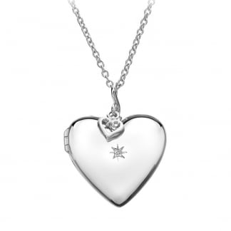 Ladies Diamond Set Starry Heart Locket