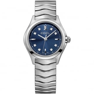 Ladies Diamond Wave Blue Galvanic Dial Watch