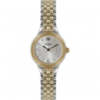 Ladies Dual Tone Stone Set Watch