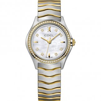 Ladies Steel & 18ct Gold Diamond Set Wave Watch 1216351
