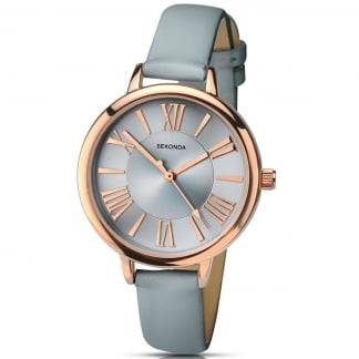 Ladies Editions Grey Leather Strap Watch