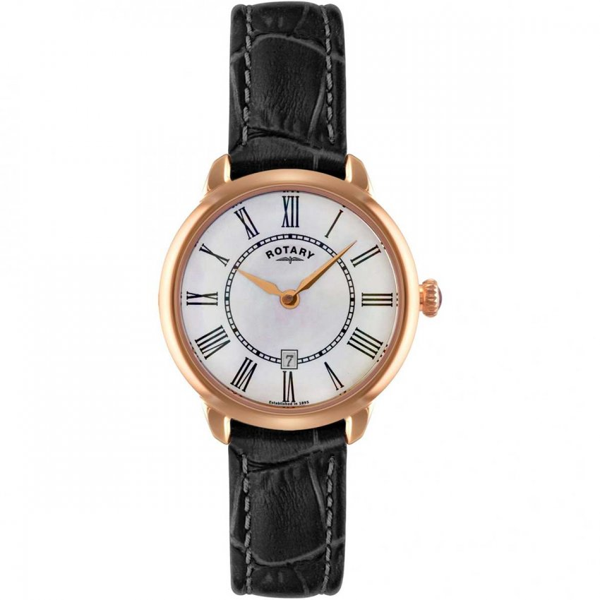 Rotary Ladies Elise Rose Gold Black Leather Quartz Watch LS02919/41