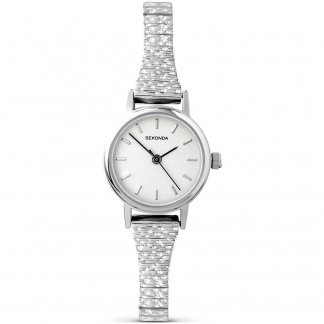 Ladies Expandable Silver Tone Dress Watch