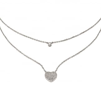 Ladies Fashionably Silver Double Heart Necklace
