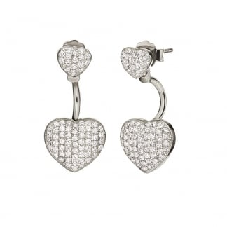 Ladies Fashionably Silver Heart Drop Earrings