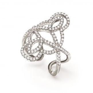 Ladies Fashionably Silver Knot Ring (Size 54)