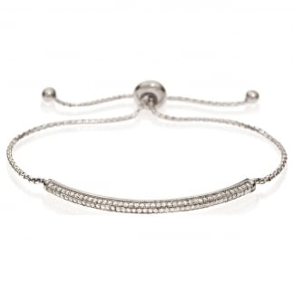 Ladies Fashionably Silver Pave Bar Bracelet