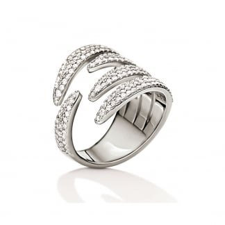 Ladies Fashionably Silver Sparkle Wrap Ring (Size 52)