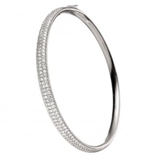 Ladies Fashionably Silver Stone Set Bangle