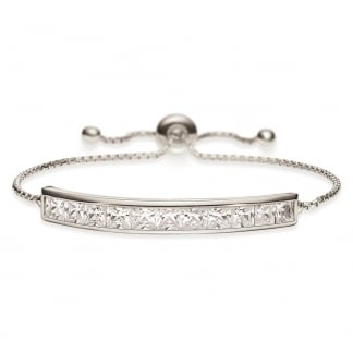 Ladies Fashionably Silver Stone Set Bar Bracelet