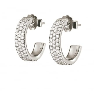 Ladies Fashionably Silver Stone Set Earring Hoops