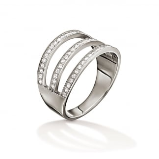 Ladies Fashionably Silver Three Row Ring (Size 54)