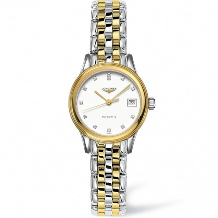 Longines Ladies Flagship Diamond Set Mother of Pearl Watch L4.274.3.27.7