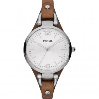 Ladies Georgia Slim Brown Leather Strap Watch