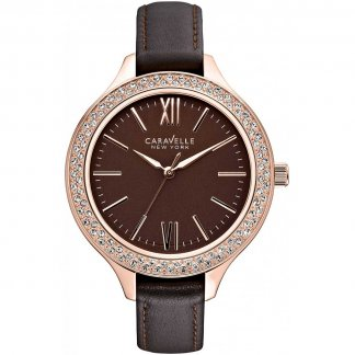 Ladies Glitzy Brown Leather Strap Watch 44L124