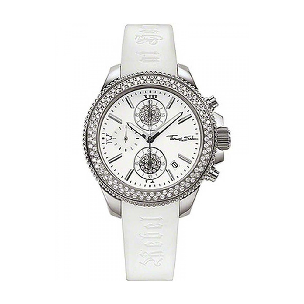 thomas sabo ladies glitzy rebel at heart white chronograph watch watches from francis gaye. Black Bedroom Furniture Sets. Home Design Ideas