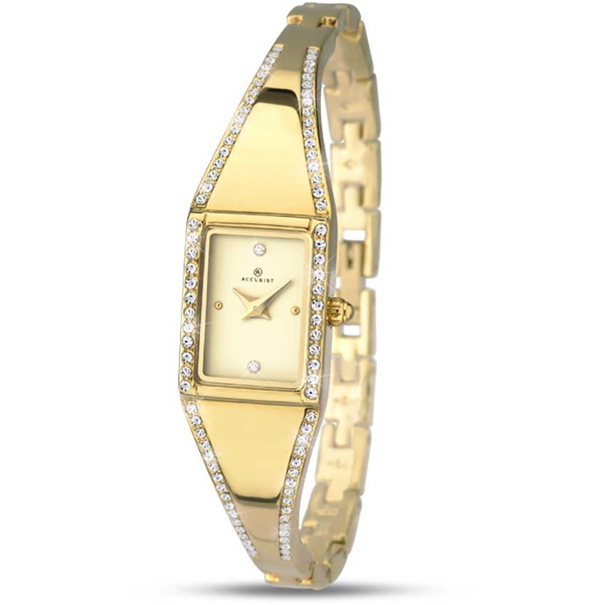 Accurist Ladies Gold Tone Stone Set Dress Watch 8024