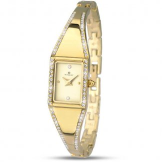 Ladies Gold Tone Stone Set Dress Watch
