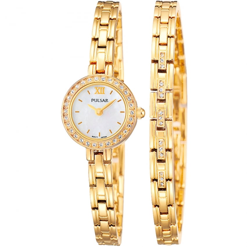 Ladies Gold and Mother of Pearl Watch and Bracelet Set PEGG52X2