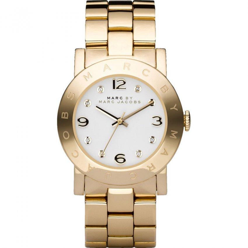 Marc Jacobs Ladies Gold Tone Stone Set Amy Watch MBM3056
