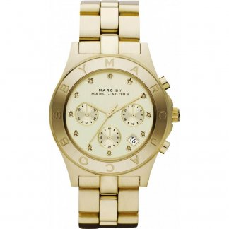 Ladies Gold Plated Blade Chronograph Watch MBM3101