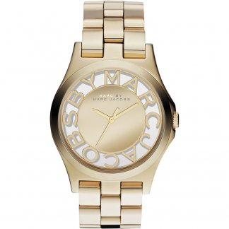 Ladies Gold Tone Skeleton Dial Henry Watch MBM3206