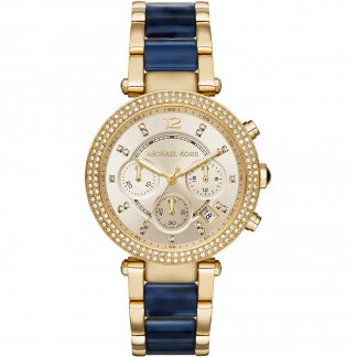 Ladies Parker Chronograph Gold & Navy Blue Watch MK6238